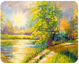 At sunset by the river, Paintings, Fine Art,Impressionism, Landscape, Canvas,Oil,Painting, By Olha   Vyacheslavovna Darchuk