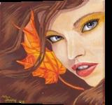 Autumn Portrait, Paintings, Fine Art, Fantasy, Canvas, By Anita Szendrei