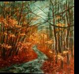 Autumn road, Paintings, Fine Art, Landscape,Nature, Acrylic,Canvas, By Marta Kuźniar
