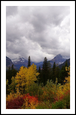 Autumn Storm Clouds Over Glacial Mountains, Photography,Poster, Fine Art,Photorealism,Realism,Romanticism, Botanical,Environmental art,Landscape,Nature, Photography: Metal Print,Photography: Photographic Print,Photography: Premium Print,Photography: Stretched Canvas Print, By Tracey Eileen Vivar