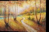 AUTUMN WALK, Paintings, Fine Art,Impressionism, Land Art,Landscape,Nature, Canvas,Oil,Painting, By Emilia Milcheva