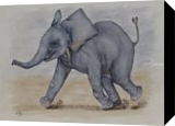 Baby Elephant Run, Paintings, Expressionism,Fine Art,Realism, Animals,Children,Humor, Painting,Watercolor, By Kelly A Mills
