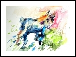 Baby goat playing, Paintings, Impressionism,Modernism, Animals, Watercolor, By Kovacs Anna Brigitta