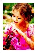 Basket of Roses, Digital Art / Computer Art,Paintings, Fine Art, Botanical,Children,Daily Life,Portrait, Digital,Watercolor, By Sandy Richter