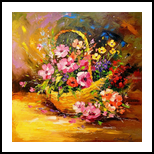 Basket with flowers, Paintings, Impressionism, Still Life, Canvas,Oil,Painting, By Olha   Vyacheslavovna Darchuk