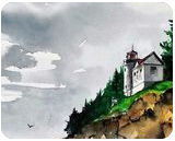 Bass Head Light, Paintings, Fine Art, Landscape, Watercolor, By james Allen lagasse