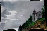 Bass Head Light, Paintings, Fine Art, Landscape, Watercolor, By james Allen lagasse