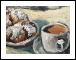 Beignets and Cafe au Lait, Paintings, Impressionism, Daily Life, Acrylic, By Susan Elizabeth Jones