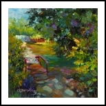 Beyond the Cottage, Paintings, Fine Art,Impressionism, Botanical,Floral, Oil, By Chris Brandley