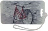 Bicycle in Red, Paintings, Fine Art, Cityscape,Decorative,Environmental art,Portrait,Still Life, Painting,Watercolor, By Kelly A Mills