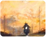 Bikers in the sunset, Paintings, Fine Art,Impressionism, Landscape, Oil,Wood, By Angela Suto