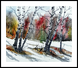 Birch trees, Paintings, Pop Art, Landscape, Painting, By james Allen lagasse
