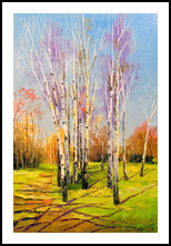 Birch trees on a Sunny spring day, Paintings, Impressionism, Botanical,Landscape,Nature, Canvas,Oil,Painting, By Olha   Vyacheslavovna Darchuk
