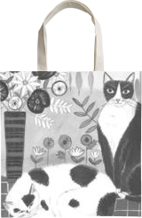 Black and White Cats, Paintings, Fine Art, Animals,Floral,Still Life, Acrylic, By Mary Stubberfield
