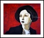 Black Hat, Paintings, Expressionism,Fine Art,Pop Art, Portrait, Acrylic,Painting, By Diane Montana Jansson