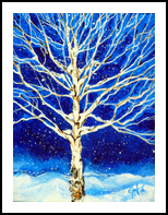 Blanket of Stillness Aspen Tree Winter Snowing, Paintings, Expressionism, Landscape, Acrylic, By Jackie Carpenter