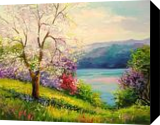 Blooming Apple tree on the river Bank, Paintings, Expressionism,Impressionism, Botanical,Figurative,Landscape,Wildlife, Canvas,Mixed,Painting, By Olha   Vyacheslavovna Darchuk