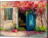 Blooming courtyard, Paintings, Impressionism, Botanical,Floral,Landscape, Canvas,Oil,Painting, By Olha   Vyacheslavovna Darchuk