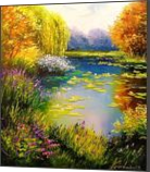 Blooming pond, Paintings, Expressionism,Fine Art,Impressionism,Romanticism, Botanical,Floral,Nature,Wildlife, Canvas,Oil,Painting, By Olha   Vyacheslavovna Darchuk