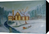 Cabin on Christmas Day, Paintings, Fine Art,Impressionism,Realism, Landscape, Canvas,Oil, By Mike Chaple