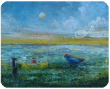Blue Boat int Green Lake, Paintings, Impressionism, Seascape, Oil, By Alicia Maury