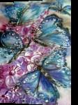 Blue butterflies, Paintings, Realism, Animals,Botanical,Decorative,Fantasy,Floral, Mixed, By Maria Hristova Koleva