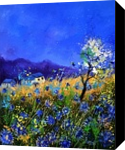 Blue cornflowers 454140, Paintings, Impressionism, Landscape, Canvas, By Pol Henry Ledent