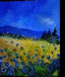 Blue cornflowers 454152, Paintings, Impressionism, Botanical,Landscape, Canvas, By Pol Henry Ledent