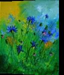 blue cornflowers 4571, Paintings, Impressionism, Botanical,Floral, Canvas, By Pol Henry Ledent