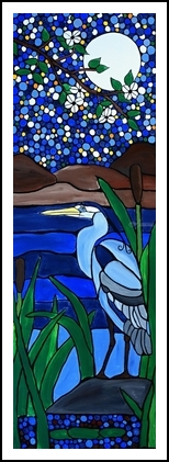 Blue heron, Paintings, Abstract,Expressionism,Fine Art, Animals,Botanical, Acrylic,Canvas, By Rachel Olynuk