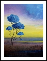 Blue Jacarandas, Paintings, Impressionism, Landscape, Canvas, By Alicia Maury