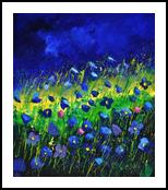 Blue poppies 6741, Paintings, Impressionism, Landscape, Canvas, By Pol Henry Ledent