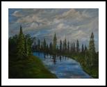 Blue River, Paintings, Fine Art, Nature, Acrylic, By Avanthi Dileka Lelwala