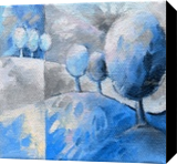 Blue trees 002, Paintings, Abstract, Landscape,Nature, Canvas,Oil, By Beatrice BEDEUR