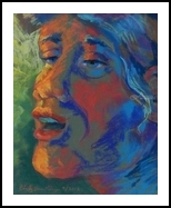 Blues Singer, Illustration,Paintings,Pastel, Expressionism,Fine Art, Daily Life,Figurative,Multicultural / Ethnic,Music,People,Portrait,Spiritual, Pastel, By Cindy Van Kley