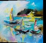 BOATS ON THE LAKE, Paintings, Impressionism, Landscape,Seascape, Fiber,Oil, By Lyubov Kuptsova