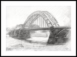 Bridge over the river Waal at Nijmegen - 21-04-14, Drawings / Sketch, Fine Art,Impressionism,Realism, Cityscape,Composition,Figurative,Inspirational,Landscape,Nature, Pencil, By Corne Akkers