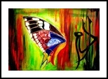 Broken Wings of Butterfly 2, Calligraphy, Abstract,Pop Art, Animals,Religious,Spiritual, Canvas,Oil,Painting, By asm g ambia