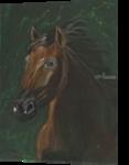 Brown horse portrait on green velvet, Paintings, Fine Art, Animals, Oil,Painting, By Claudia Luethi alias Abdelghafar