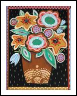 Brown Pot, Folk Art, Primitive, Floral, Acrylic, By KARLA A GERARD