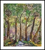 Buddha Forest, Collage, Fine Art, Landscape, Mixed, By Gayle Gerson