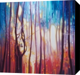 Burning Bright - a tiger in a glowing forest, Paintings, Abstract,Expressionism,Fine Art,Impressionism, Nature, Oil, By Gill Bustamante