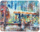 Bus Stop, Paintings, Abstract,Expressionism, Cityscape, Canvas,Oil, By Marcio Moreira