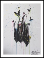 Butterflies, Illustration,Paintings, Abstract, Conceptual, Acrylic,Canvas,Charcoal, By Giada Lucia Alaia