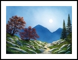 By The Light Of The Moon, Paintings, Fine Art,Impressionism,Realism, Landscape, Gouache, By Frank S. Wilson