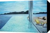 By the Pool, Paintings, Realism, Window on the World, Oil,Painting, By Dana (Drago Adria) Dragomir