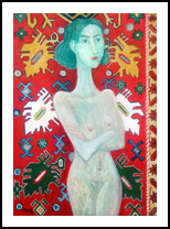 Carpet and girl2018year oil on canvas 70X50cm3000$, Paintings, Modernism, Erotic, Canvas, By ZAKIR AHMEDOV