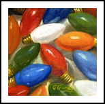 CHRISTMAS LIGHTS, Paintings, Fine Art,Realism, Still Life, Canvas,Oil,Painting, By Tom Furey