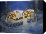 Christmas Night, Paintings, Fine Art,Impressionism, Landscape, Canvas,Oil, By Mike Chaple