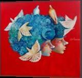 Close to my heart ii, Paintings, Expressionism,Fine Art,Modernism,Pop Art,Realism,Romanticism, Children,Composition,Fantasy,Figurative,Nature,Portrait, Acrylic,Canvas,Oil, By Shiv Kumar Soni
